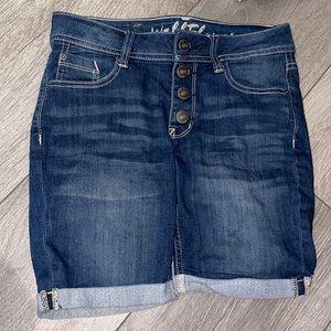 Wallflower blue jean skinny shorts